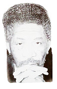 Morgan Drawings Posters - Morgan Freeman Poster by Benjamin McDaniel