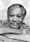 Morgan Drawings Posters - Morgan Freeman Poster by Mike Todd