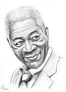 Famous People Drawings - Morgan Freeman by Murphy Elliott
