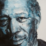 Icon Painting Acrylic Prints - Morgan Freeman Acrylic Print by Paul Lovering