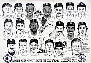 Boston Red Sox Drawings Framed Prints - Morgan Magic and the East Championship newspaper poster Framed Print by Dave Olsen