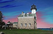 New England Paintings - Morgan Point Lighthouse by Earl Jackson