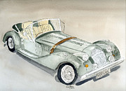 Vehicle Drawings Posters - Morgan Sports Car Poster by Eva Ason
