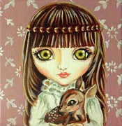 Pop Surrealism Paintings - Moriko and the Baby Deer by Nicole Chen