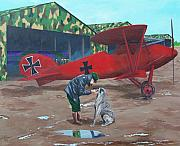 Ww1 Paintings - Moritz And Richthofen by Gene Ritchhart