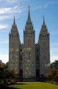 Angel Moroni Prints - Mormon Temple Fall Print by David Lee Thompson