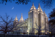 Temple Square Posters - Mormon Temple in Winter Poster by Utah Images