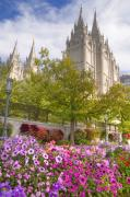 Temple Square Framed Prints - Mormon Temple Salt Lake City Framed Print by Utah Images
