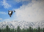 Snowy Trees Paintings - Mornin Magpie by Jan Kench