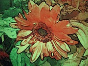 Daisies Pyrography Prints - Morning 2 Print by Cynthia Edwards