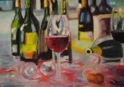 Wine Glasses Paintings - Morning After by Steve Mullins