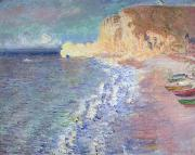 Fishing Boats Prints - Morning at Etretat Print by Claude Monet