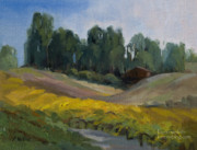 Grapevines Paintings - Morning at the Vineyard - Temecula by Karen Winters