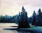 Wyoming Paintings - Morning at Yellowstone Lake by Suzanne Krueger