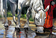 Fire Hydrant Paintings - Morning Bath Now Breakfast by Rae Andrews