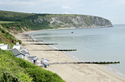 Britain Posters - MORNING BAY looking up Swanage Bay on a summer morning beach scene Poster by Andy Smy