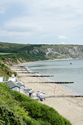 Sandy Photo Posters - MORNING BAY Pt looking up Swanage Bay on a summer morning beach scene Poster by Andy Smy