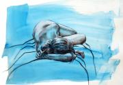 Nude Drawings Drawings Prints - Morning Blues Print by Peggi Habets