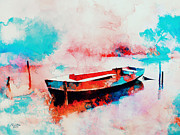 Colorful Print Paintings - Morning Boat  by Rosalina Atanasova
