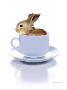 Coffee Cup Animal Posters - Morning Bunny Poster by Bob Nolin