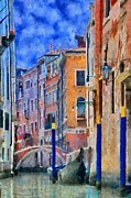 Gondola Digital Art Prints - Morning Calm in Venice Print by Jeff Kolker