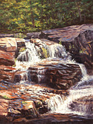 Falls Paintings - Morning Commute Jackson Falls NH by Elaine Farmer