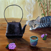 Teapot Paintings - Morning Cup of Tea by Laura Iverson