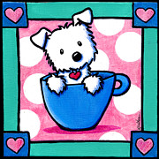 Westie Dog Paintings - Morning Cuppa Love by Kim Niles