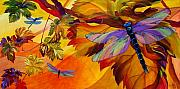 Dragonfly Painting Originals - Morning Dawn by Karen Dukes