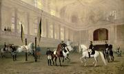 Flag Paintings - Morning Exercise in the Hofreitschule by Julius von Blaas
