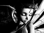 Puck Digital Art Posters - Morning Fairy BW Poster by Alexander Butler