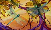 Dragonfly Paintings - Morning Flight by Karen Dukes