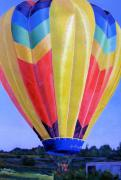 Hot Air Balloon Painting Posters - Morning Flight Poster by Lynne Reichhart