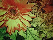 Leaf Pyrography - Morning Flower 1 by Cynthia Edwards