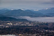 Drifting Snow Prints - Morning Fog over Grants Pass Print by Mick Anderson