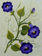 Morning Glories Paintings - Morning Glories by Barbara Griffin