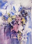 Morning Mixed Media Posters - Morning Glories Poster by Joan  Jones