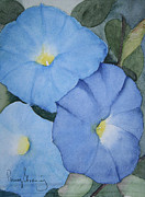 Morning Glories Paintings - Morning Glories by Penny Stroening