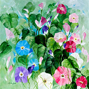 Morning Glories Paintings - Morning Glory Bouquet by Linda Rauch