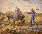 Donkey Paintings - Morning going out to work by Vincent Van Gogh