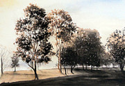 Monotone Paintings - Morning Golf by Carol McLagan