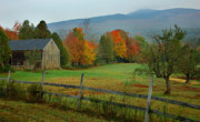 New Hampshire Fall Foliage Prints - Morning Grove - New England Fall Monadnock farm Print by Jon Holiday
