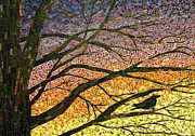 Blackbird Glass Art Metal Prints - Morning Has Broken Metal Print by Lee Ann Petropoulos