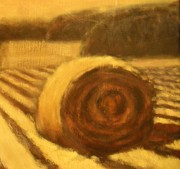 Haybales Painting Metal Prints - Morning Haybale Metal Print by Jaylynn Johnson