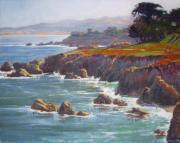 Rocky Coast Paintings - Morning Hits the Rocks by Sharon Weaver