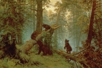 Wild Animals Framed Prints - Morning in a Pine Forest Framed Print by Ivan Ivanovich Shishkin