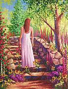 Steps Painting Posters - Morning In Her Garden Poster by David G Paul
