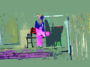 Pajamas Digital Art - Morning in Her Pink Pajamas by Lenore Senior