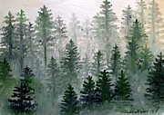 Foggy Day Painting Posters - Morning in the Mountains Poster by Shana Rowe