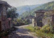 Realism Paintings - Morning in the village by Andrey Soldatenko
